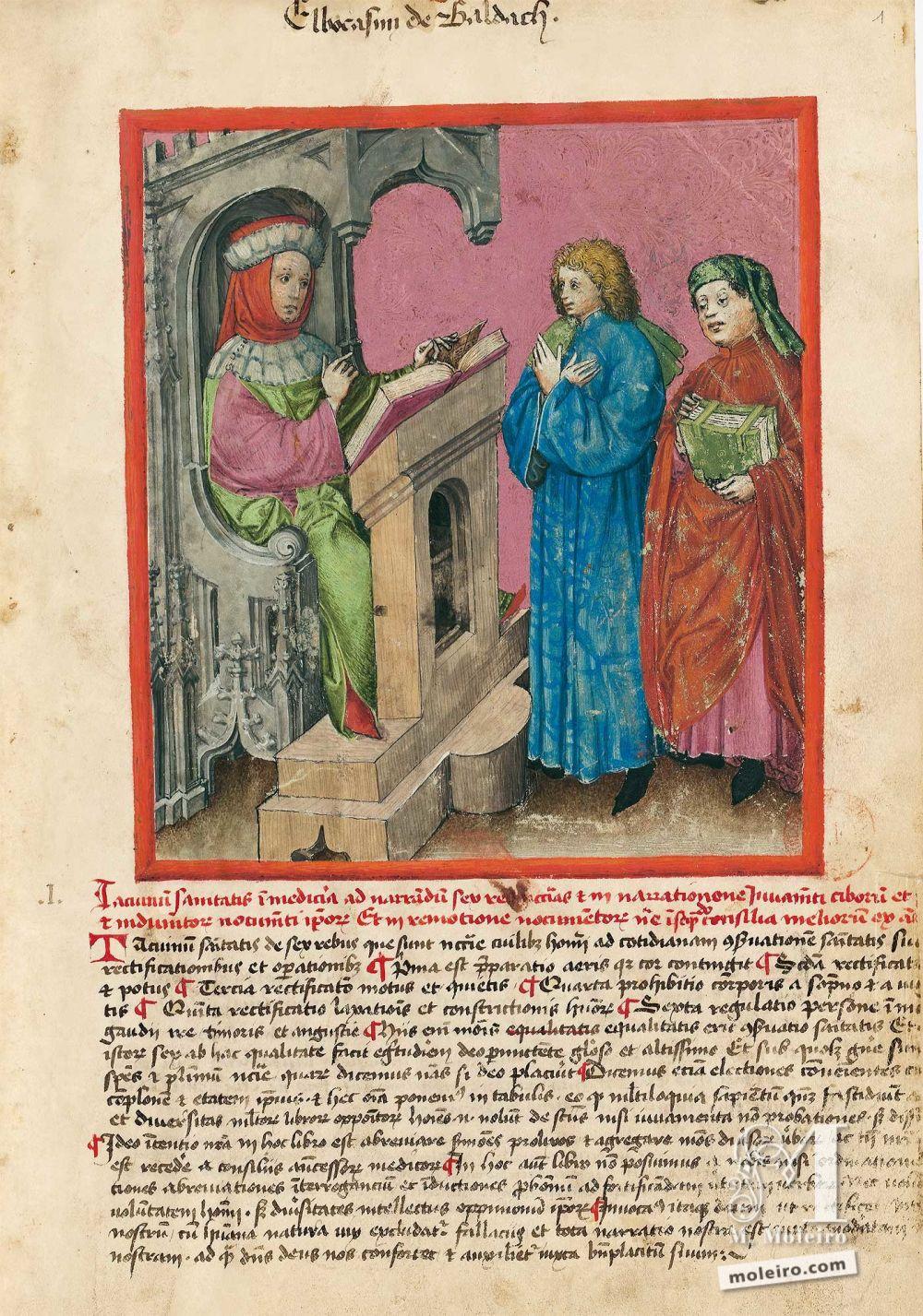 f. 1r, Elbocasim of Baldach. Tacuinum Sanitatis, Ms. Lat. 9333. Bibliothèque nationale de France, Parigi