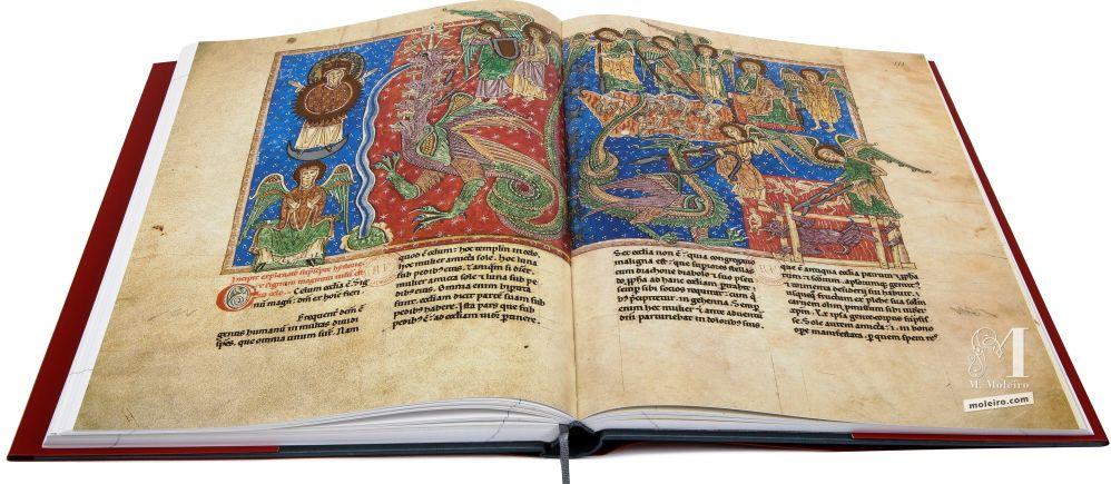 Beato de Liébana, códice del Monasterio Cisterciense de San Andrés de Arroyo ff. 110v-111, The battle between the serpent and the Son of the Woman