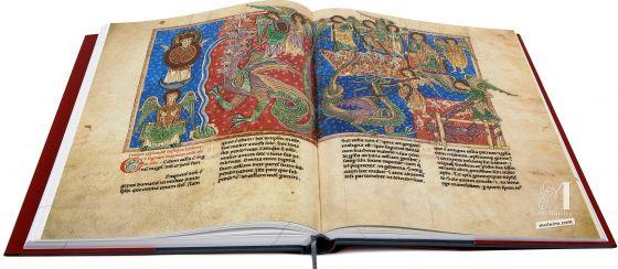 Beato de Liébana, códice del Monasterio Cisterciense de San Andrés de Arroyo <p>ff. 110v-111, The battle between the serpent and the Son of the Woman</p>