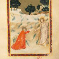 f. 186r: Noli me tangere(Juan 20, 15-17)
