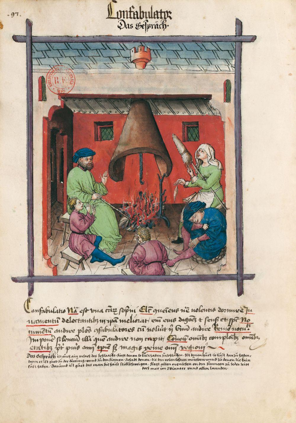 Tacuinum Sanitatis f. 97v, Das Gespräch