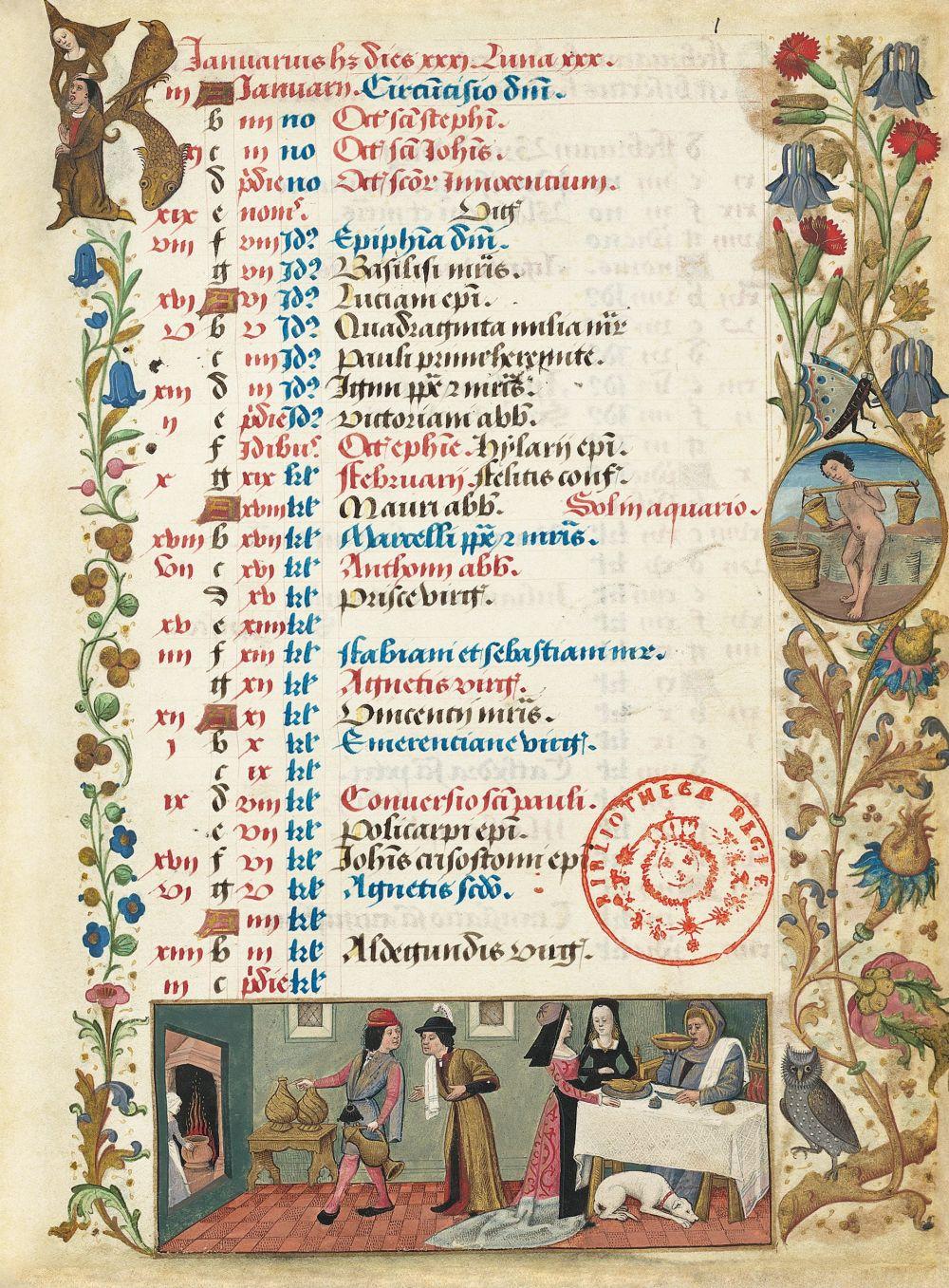 Libro de horas de Carlos de Angulema Calendario: enero (f. 1r)