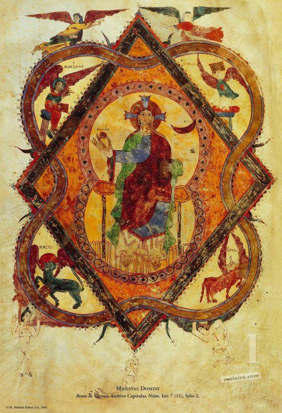 12 pósters de los Beatos de Liébana. Maiestas Domini (folio 2r), Beato de Liébana, códice de San Salvador de Tábara