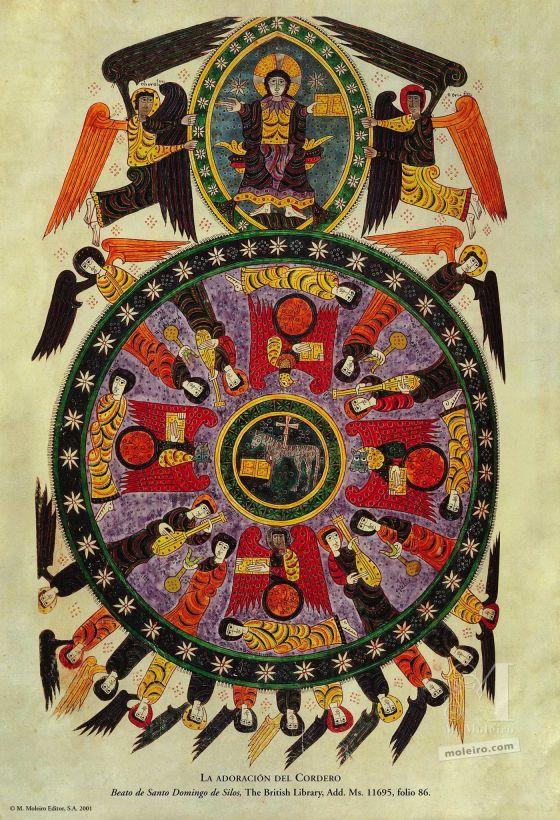 12 pósters de los Beatos de Liébana. La adoración del Cordero (folio 86v), Beato de Liébana, códice de Santo Domingo de Silos
