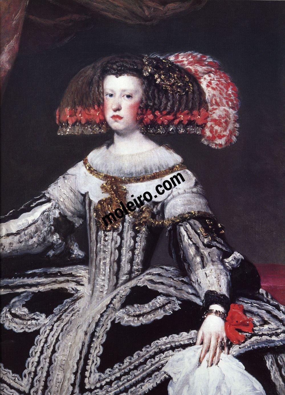 El Arte Barroco en España y Portugal Diego Velásquez, rainha Mariana de Áustria, detalhe,1652. Museu do Prado, Madrid, Espanha.
