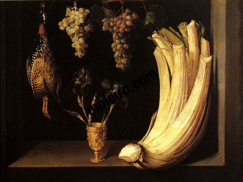 El Arte Barroco en España y Portugal Felipe Ramírez, Bodegón con cardo, francolín, uvas y lirios,1628. Museo del Prado, Madrid, España.
