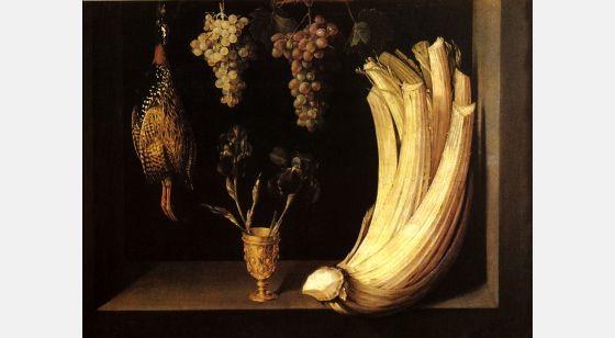 El Arte Barroco en España y Portugal Felipe Ramírez, Nature morte avec chardon, raisins, lys et francolin, 1628.Musée du Prado, Madrid, Espagne.