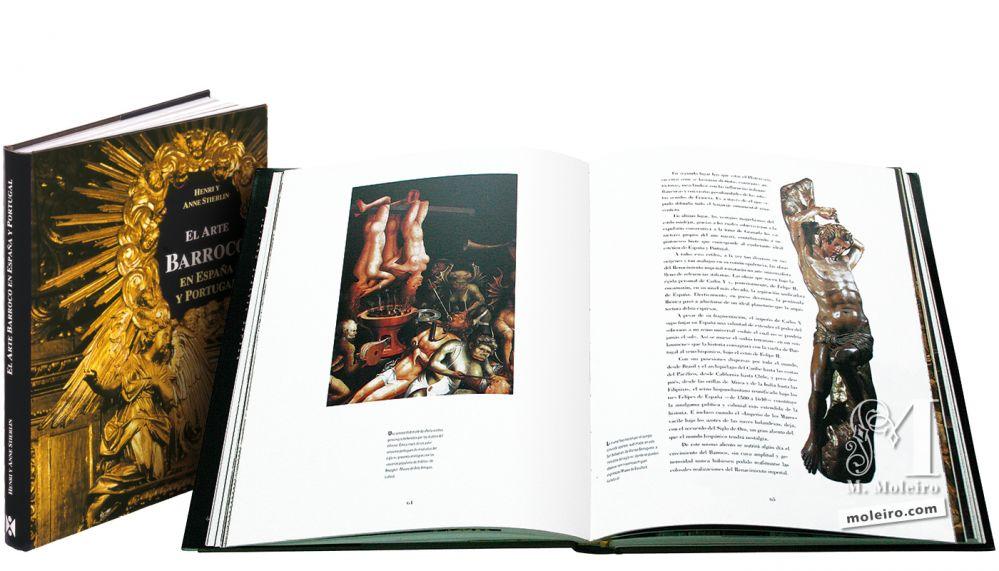 El Arte Barroco en España y Portugal Portada y lomo de El Arte Barroco en España y Portugal. Imagen de personajes torturados por los diablos del Infierno y el cuerpo torturado