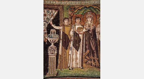 El Arte en la Edad Media San Vitale, La corte di Teodora, particolare, Ravenna, 540-547