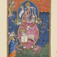 f. 6r, Das versiegelte Buch und das Lamm