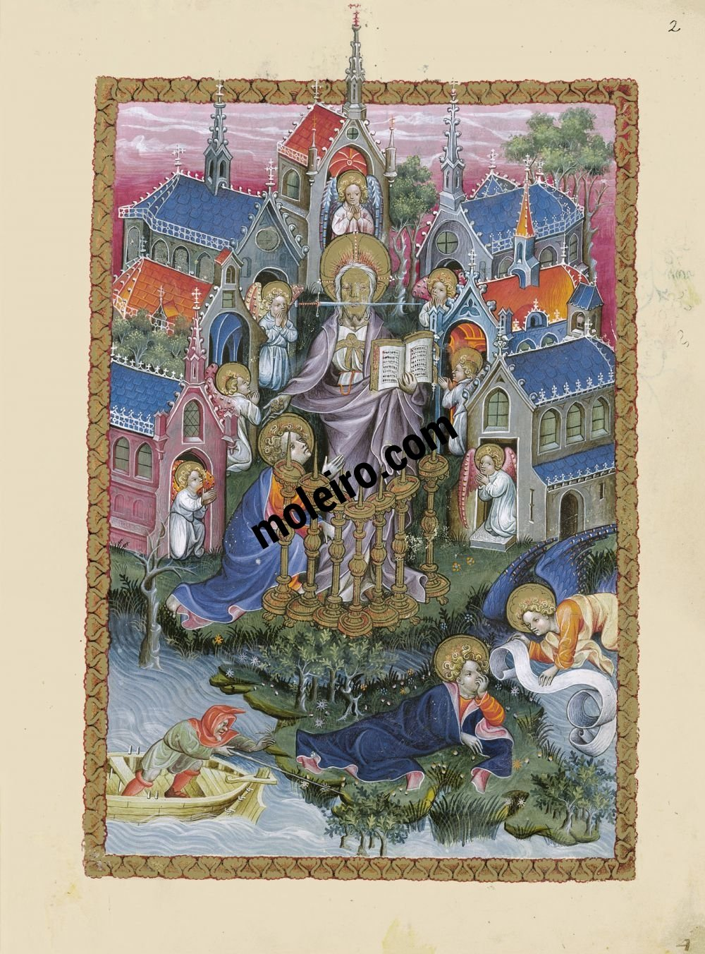 Flemish Apocalypse f. 2r, St. John on Patmos. The vision of Christ and seven candlesticks and the seven churches of Asia