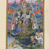 f. 2r, St. John on Patmos. The vision of Christ and seven candlesticks and the seven churches of Asia