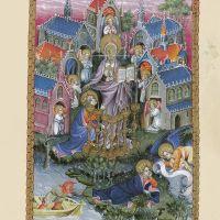 f. 2r, Saint Jean à Patmos. Vision de Christ entre les sept chandeliers et les sept Églises d'Asie