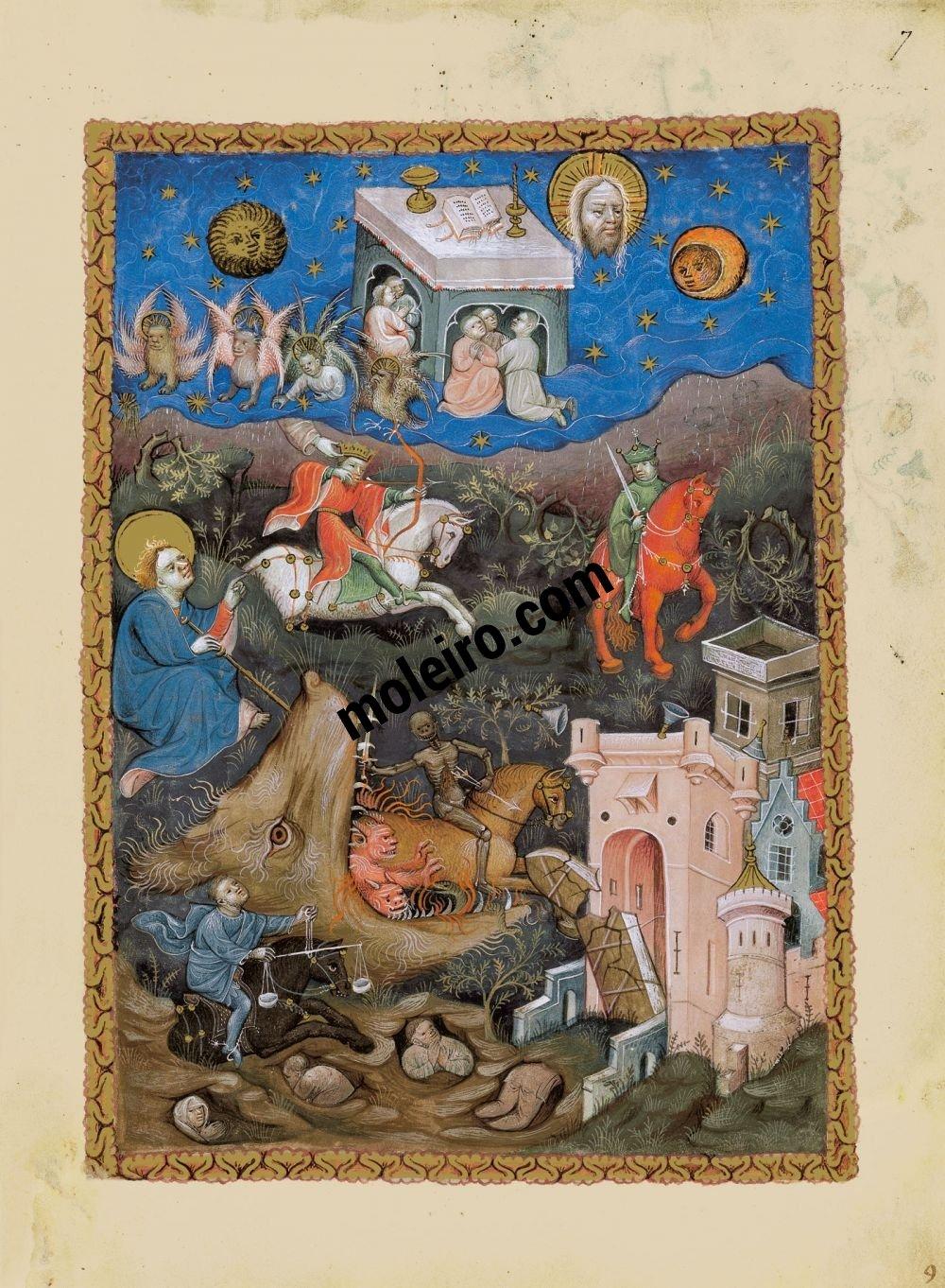 Flämische Apokalypse f. 7r, Die vier Reiter der Apokalypse