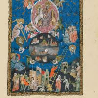 f. 8r, The four angels holding the winds, the angel with the sign of the living God and the one hundred and forty-four thousand signed