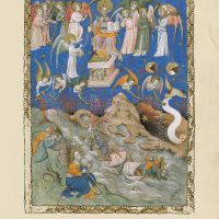 f. 9r, The seven angels receive the seven trumpets, the angel censes the altar and the first four plagues