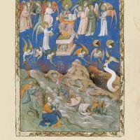 <p>f. 9r, Los siete ángeles reciben las siete trompetas</p>