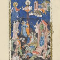 f. 12r, The measuring of the temple, the death and ascension of the two witnesses, the Antichrist and the seventh trumpet