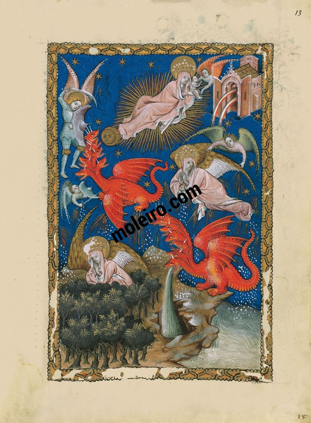 Flemish Apocalypse f. 13r, The temple in heaven and the Woman in the sun and the seven-headed dragon