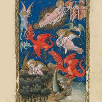 f. 13r, Der himmlische Tempel und die Frau auf der Sonne sowie der siebenköpfige Drache