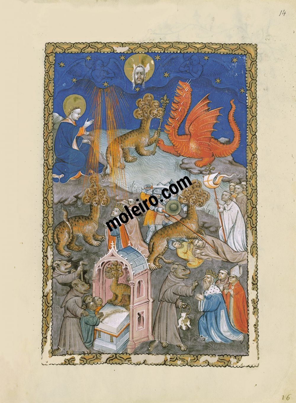 Flemish Apocalypse f. 14r, The dragon, the seven-headed beast from the sea and the false prophet