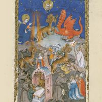 f. 14r, The dragon, the seven-headed beast from the sea and the false prophet