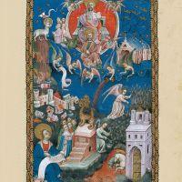 <p>f. 15r, La adoración del Cordero, la caída de Babilonia, la siega y la vendimia</p>