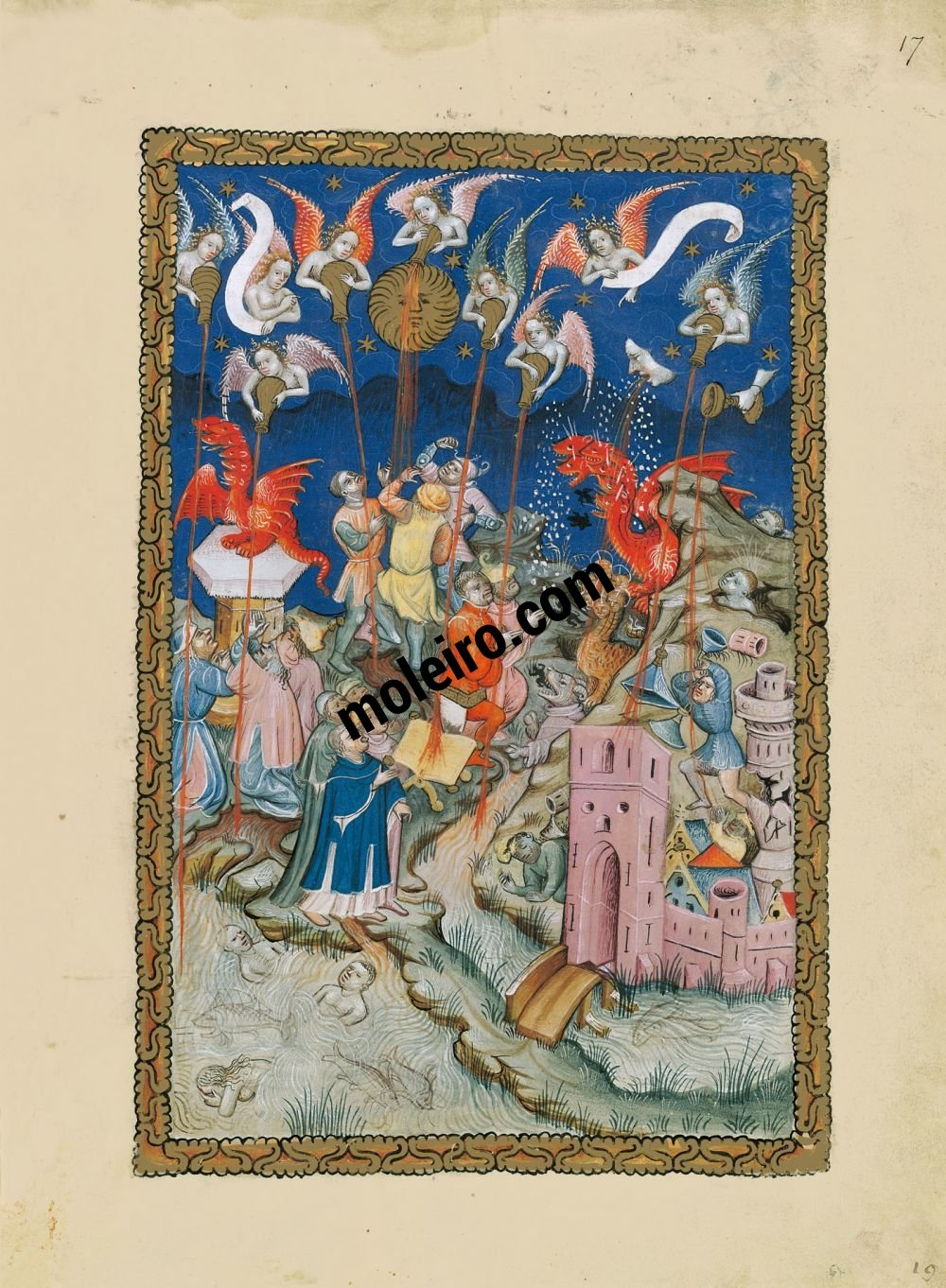 Flemish Apocalypse f. 17r, The seven vials of the wrath of God are poured out upon the earth