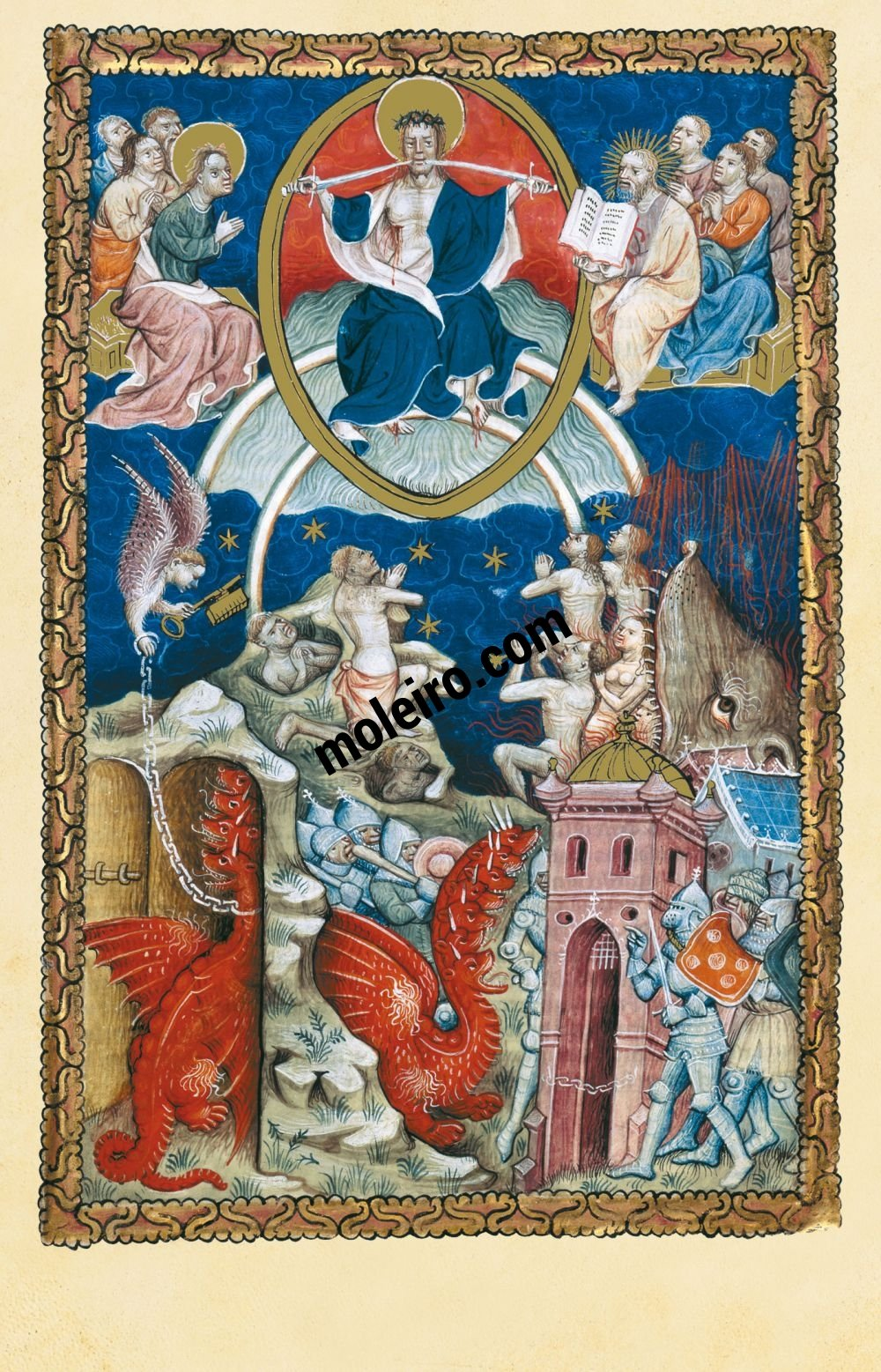 Flemish Apocalypse f. 18r, The Last Judgment and Satan bound for a thousand years