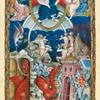 <p>f. 18r, El Juicio Final: Satanás, mil años encadenado</p>