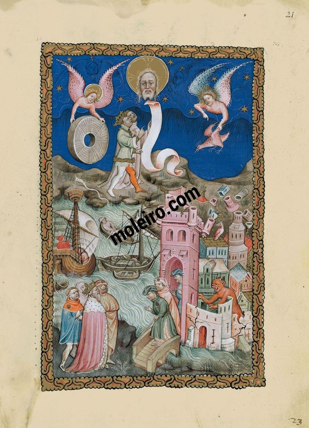Apocalypse Flamande f. 21r L'effondrement de Babylone