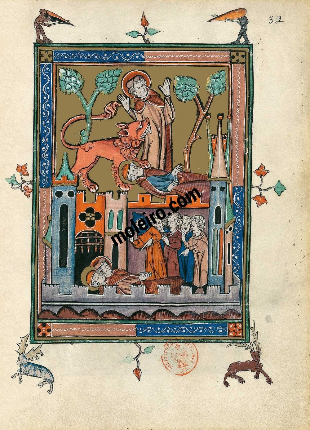 The Apocalypse of 1313 f. 32r, The death of the two witnesses (Ap. 11, 7-11)
