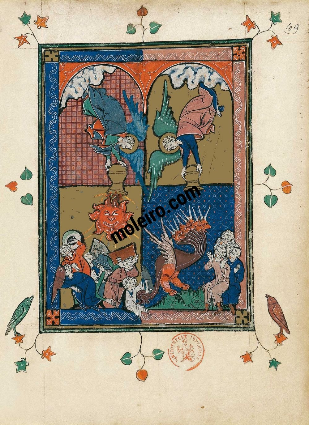 Apocalipse 1313 f. 49r, The fourth and fifth bowls (Revelation 16: 7-11)