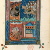 f. 74r, Le second combat eschatologique (Ap. 20, 7-10)