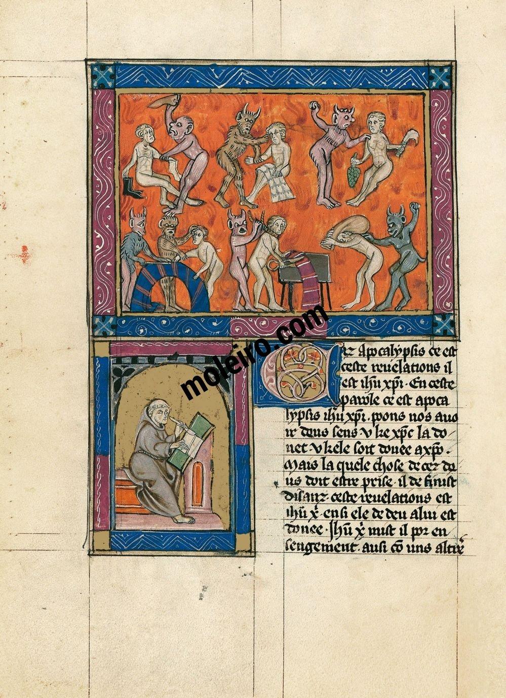 Apokalypse 1313 f. 87v, Die Hölle der Zünfte (Fortsetzung), Porträt des Verfassers des Kommentars oder des Übersetzers
