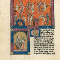 f. 87v, The Hell of trades (cont.) – Portrait of the author of the commentary or the translator