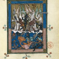 f. 36r, A great battle in heaven (Revelation 12: 7-12a)