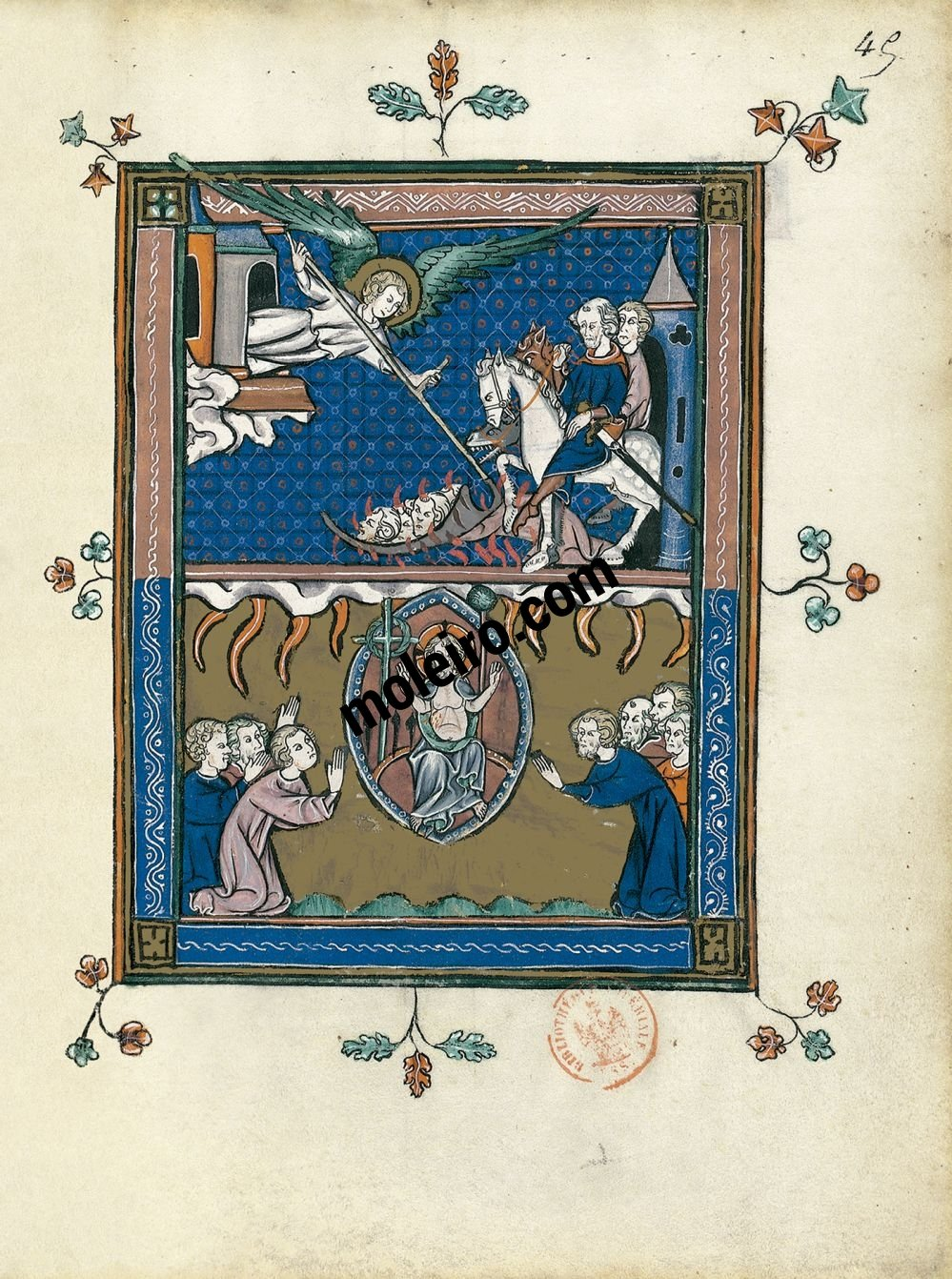 The Apocalypse of 1313 f. 45r, The Judgement of the nations (Revelation 14: 17-20)