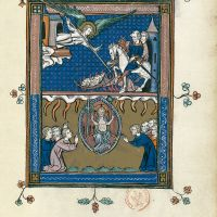 f. 45r, The Judgement of the nations (Revelation 14: 17-20)