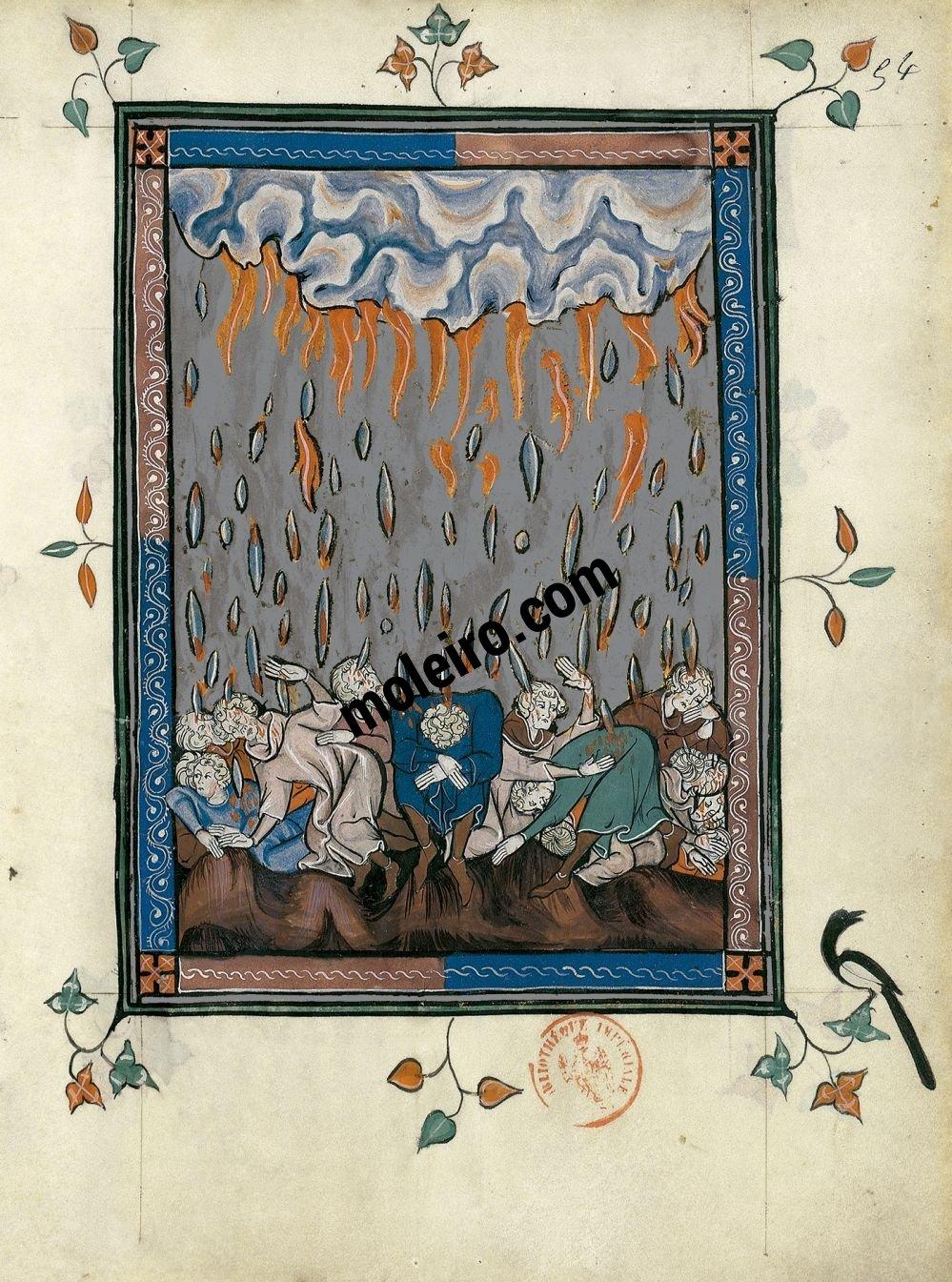 The Apocalypse of 1313 f. 54r, The rain of hailstones (Revelation 16: 21)
