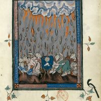f. 54r, The rain of hailstones (Revelation 16: 21)