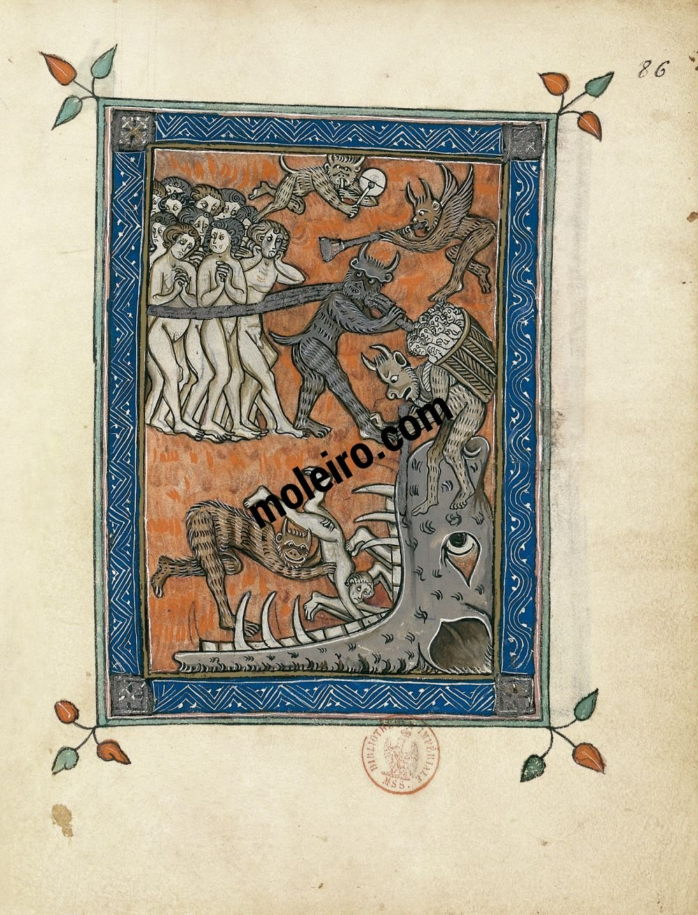 The Apocalypse of 1313 f. 86r, The damned taken to Hell (Revelation 22: 16-21)