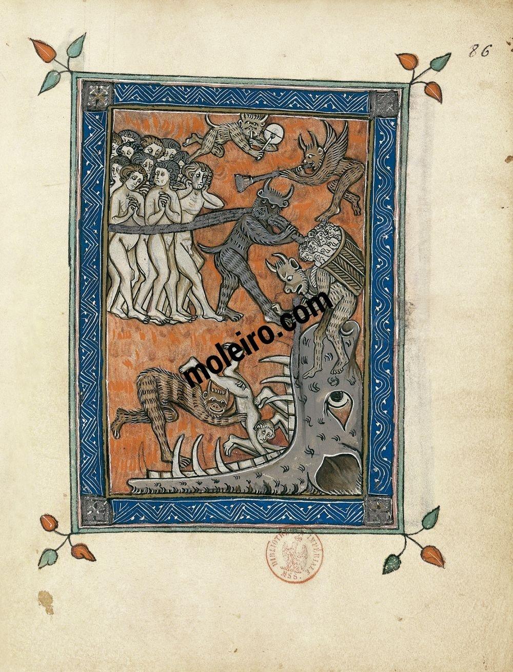 Apokalypse 1313 f. 86r, Die in die Hölle geworfenen Verurteilten