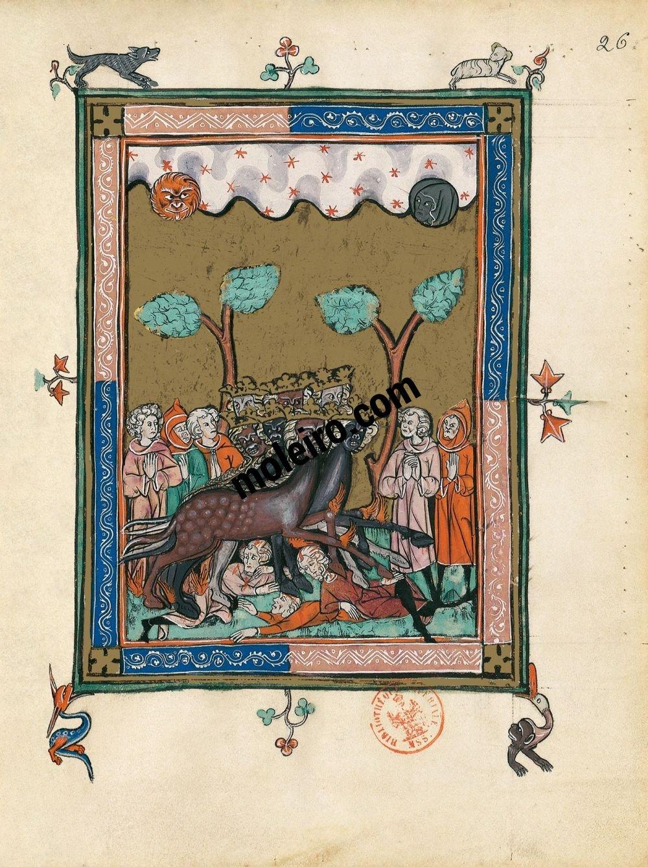 Apocalipsis 1313 f. 26r, Las langostas (Ap. 9, 5-7)