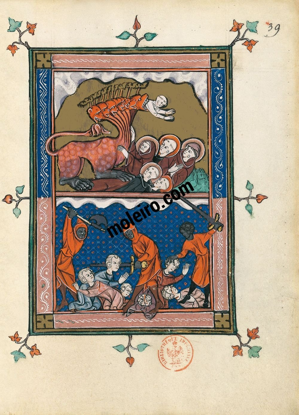 The Apocalypse of 1313 f. 39r, The Beast sets off to wage war upon the saints (Ap. 13, 5-10)