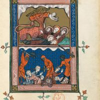 f. 39r, The Beast sets off to wage war upon the saints (Ap. 13, 5-10)