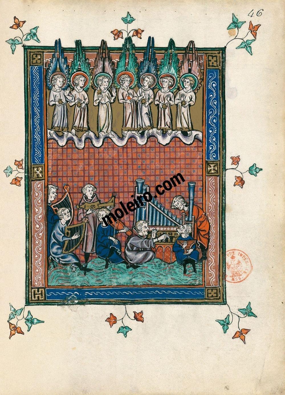Apokalypse 1313 f. 46r, Das gläserne Meer (Offb. 15, 1-4)
