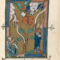 f. 29r, The angel standing upon the land and the sea (Ap. 10, 1-7)
