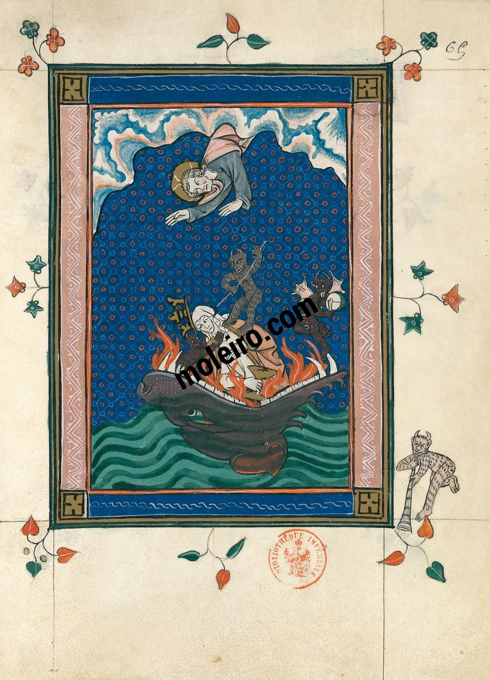 The Apocalypse of 1313 f. 65r, Babylon cast into Hell (Ap. 18, 22b-24)