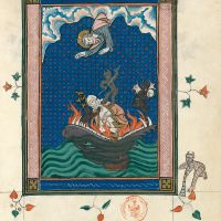 f. 65r, Babylon cast into Hell (Ap. 18, 22b-24)